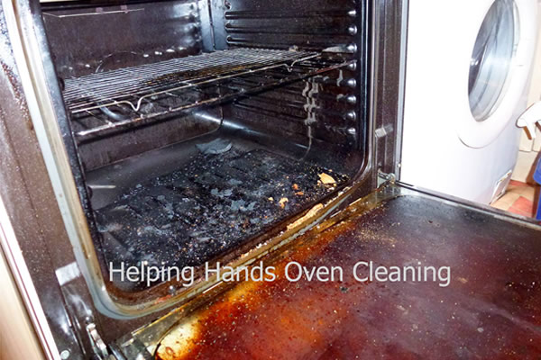very dirty oven before cleaning