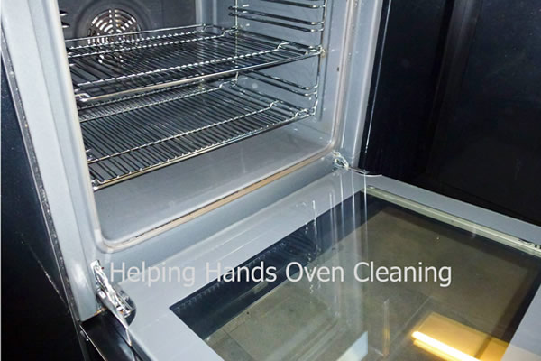 grimey oven after cleaning